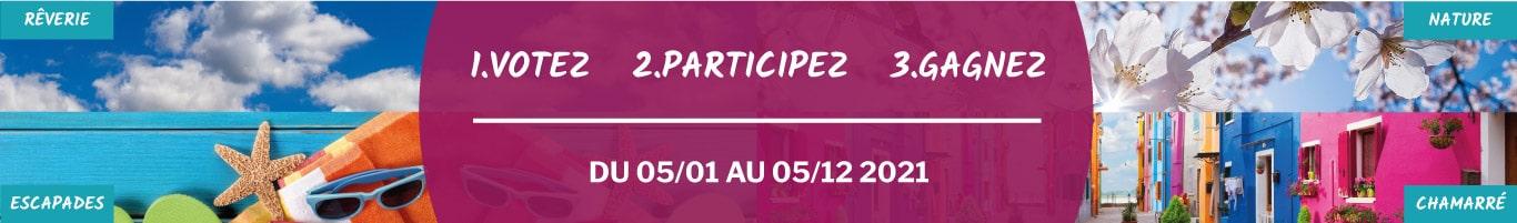 Bannière jeu concours Enjoyourspace 2021, 4 saisons, 4 sélections à thème de décors. Votez pour vos préférés et remportez des solutions HAPPYLINE !