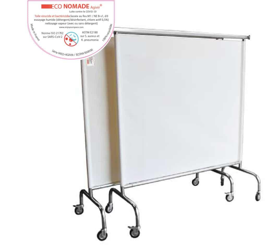 Paravent mobile ECO-Nomade AGIVIR® pour aménager les postes médicaux avancées et box de vaccination COVID-19